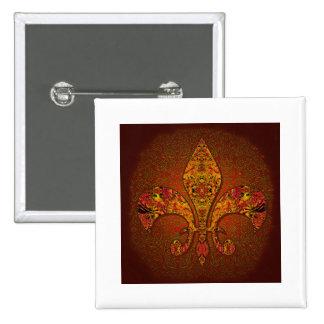 Flor-De-Lis crest flower-lily dynastic coat-of-arm Pinback Buttons
