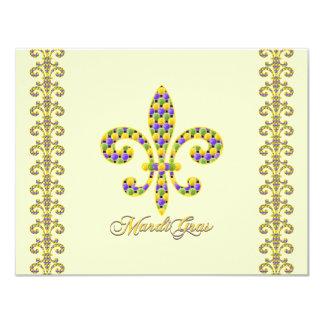 Flor de lis de la gota del carnaval invitación 10,8 x 13,9 cm