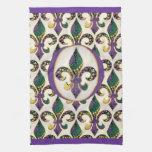 Flor de lis de la gota del carnaval toalla de cocina