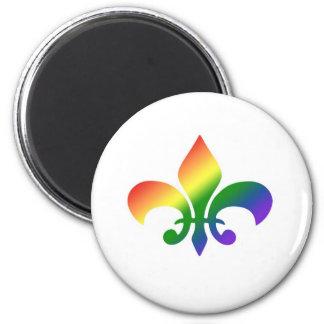 Flor de lis de la pendiente del arco iris imán redondo 5 cm