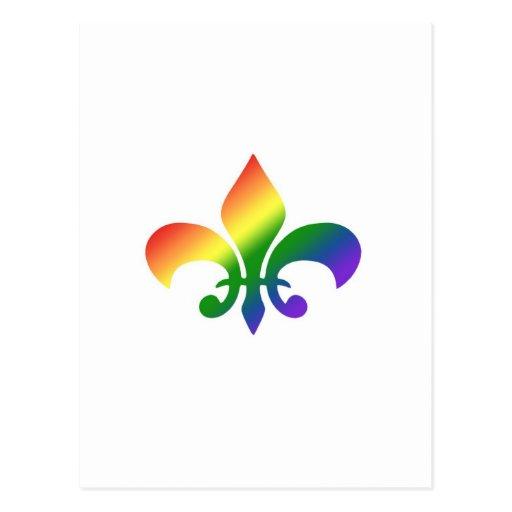 Flor de lis de la pendiente del arco iris postal
