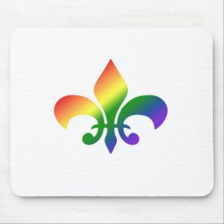 Flor de lis de la pendiente del arco iris tapete de ratón