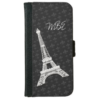 Flor de lis de la torre Eiffel Funda Cartera Para iPhone 6