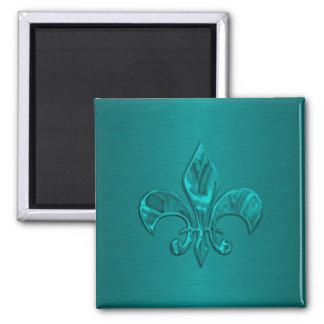 Flor de lis de la turquesa imán cuadrado