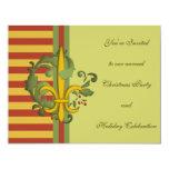 Flor de lis de la voluta del navidad invitación 10,8 x 13,9 cm