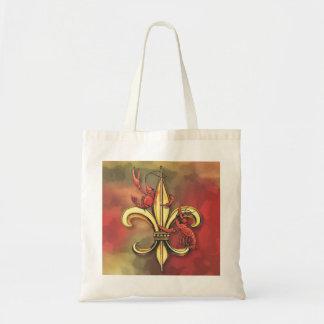 Flor de lis de los cangrejos bolsa tela barata