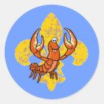 Flor de lis de los cangrejos pegatina redonda