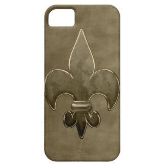 Flor de lis de los santos del terciopelo del oro funda para iPhone SE/5/5s