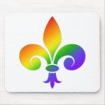 Flor de lis de lujo del arco iris tapete de ratón