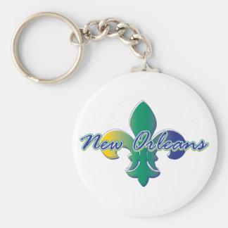 Flor de lis de New Orleans tri Llaveros