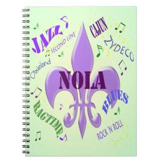 Flor de lis de NOLA New Orleans y cuaderno de la m