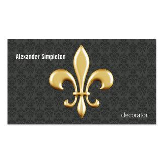 Flor de lis de oro en el damasco tarjetas de visita