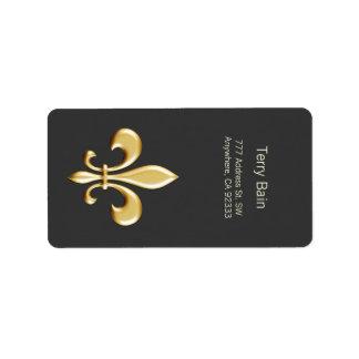 Flor de lis de oro etiquetas de dirección
