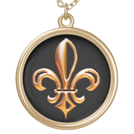 Flor de lis de oro francesa collar dorado
