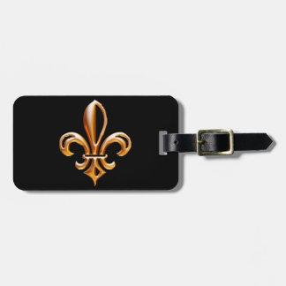 Flor de lis de oro francesa etiqueta de maleta
