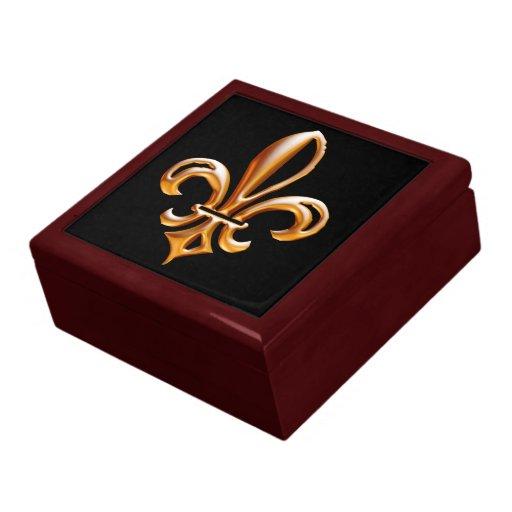 Flor de lis de oro francesa joyero cuadrado grande