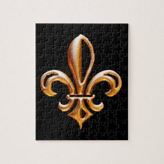 Flor de lis de oro francesa puzzles