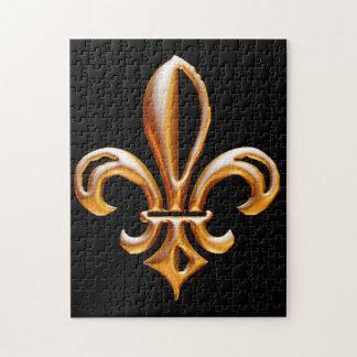 Flor de lis de oro francesa puzzles con fotos