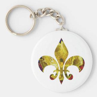 Flor de lis de oro;   Serie de ZazzleRocks Llavero Personalizado