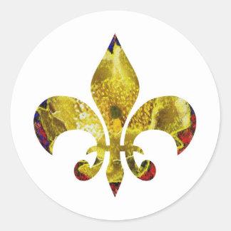 Flor de lis de oro;   Serie de ZazzleRocks Pegatina Redonda