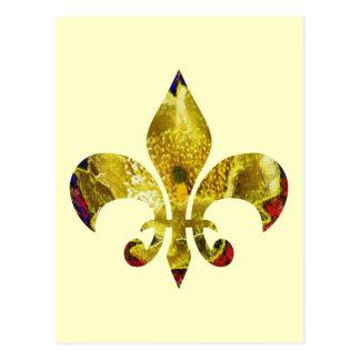 Flor de lis de oro;   Serie del tatuaje de Postal