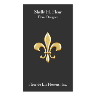 Flor de lis de oro tarjetas de visita