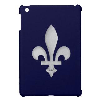 Flor de lis de plata en el mini caso del iPad azul iPad Mini Cárcasa