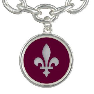Flor de lis de plata en púrpura real pulseras con dijer