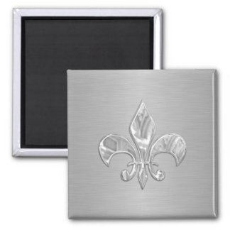 Flor de lis de plata imán cuadrado