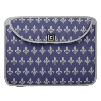 Flor de lis de plata Macbook azul floral favorable Funda Para Macbooks
