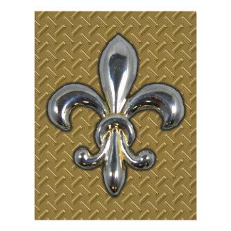 Flor de lis de plata New Orleans del oro Membrete Personalizado
