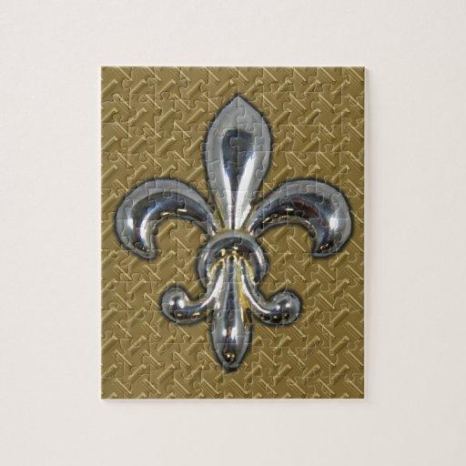 Flor de lis de plata New Orleans del oro Rompecabezas