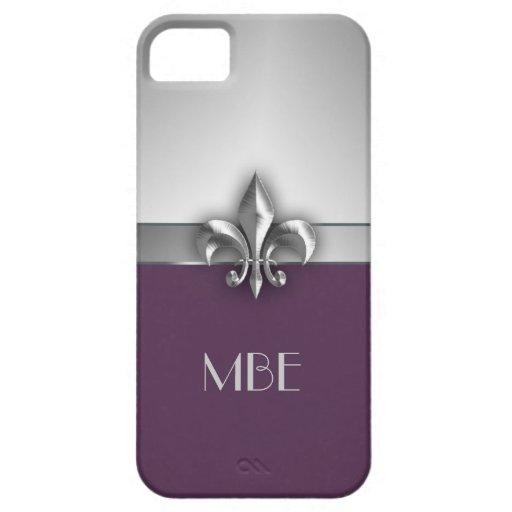 Flor de lis de plata púrpura del metal del iPhone 5 funda