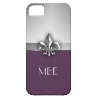 Flor de lis de plata púrpura del metal del monogra iPhone 5 protector