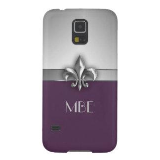 Flor de lis de plata púrpura del metal del monogra carcasa para galaxy s5