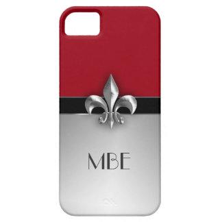 Flor de lis de plata roja del metal del monograma iPhone 5 Case-Mate protectores