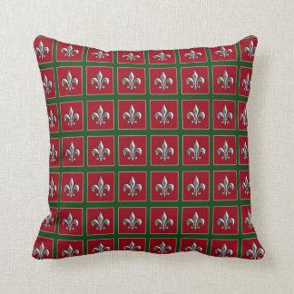 Flor de lis de plata verde roja almohadas