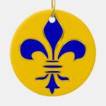 Flor de lis del azul y del oro - ornamento adorno navideño redondo de cerámica