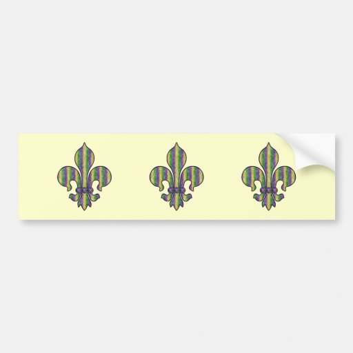 Flor de lis del carnaval de la raya etiqueta de parachoque