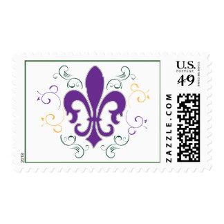 Flor de lis del carnaval sello postal