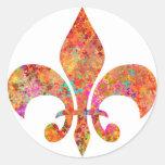 Flor de lis del diseñador de la estrella del arce etiqueta redonda
