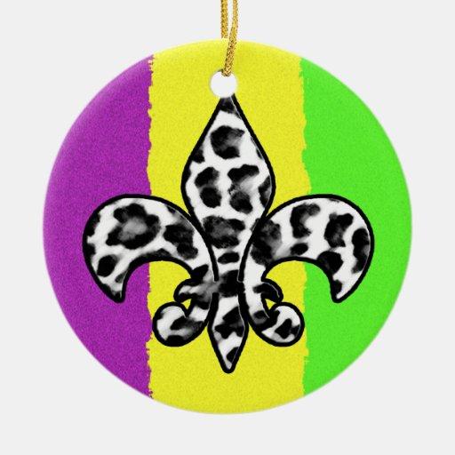 Flor de lis del estampado leopardo ornamentos de reyes magos