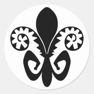 Flor de lis del Fest del jazz (negro) Pegatina Redonda