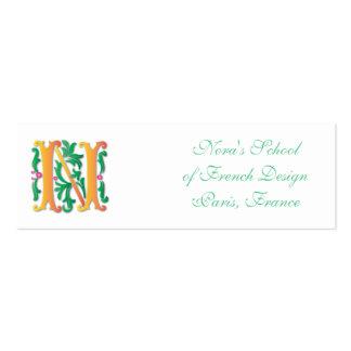 Flor de lis del monograma de la letra N Tarjetas De Visita Mini