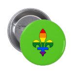 Flor de lis del orgullo de LGBT Pin Redondo 5 Cm
