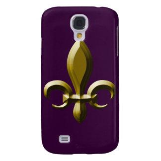 flor de lis del oro de la mirada 3D Funda Para Galaxy S4