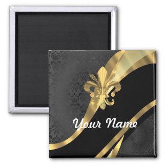 Flor de lis del oro en negro imán cuadrado