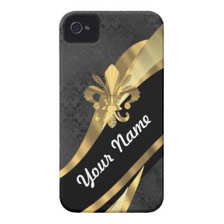 Flor de lis del oro en negro iPhone 4 cobertura