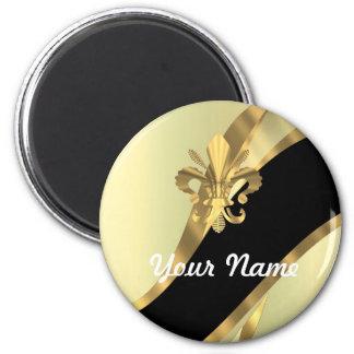 Flor de lis del oro personalizada imán redondo 5 cm