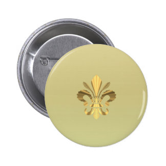Flor de lis del oro pin redondo de 2 pulgadas